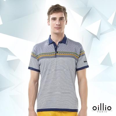 歐洲貴族oillio-短袖線衫-紳士POLO領-圖騰印花-灰色