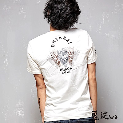 鬼洗 BLUE WAY 五鬼頭熱昇華繡花V領短袖T恤-白