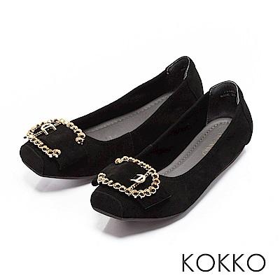 KOKKO - 超軟底真皮水鑽C扣方頭平底鞋-黑
