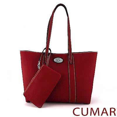 CUMAR 簡約荔枝紋軟皮托特包(附零錢包)-深紅