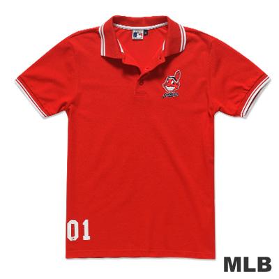 MLB-克里夫蘭印地安人隊繡印花POLO衫-紅(男)