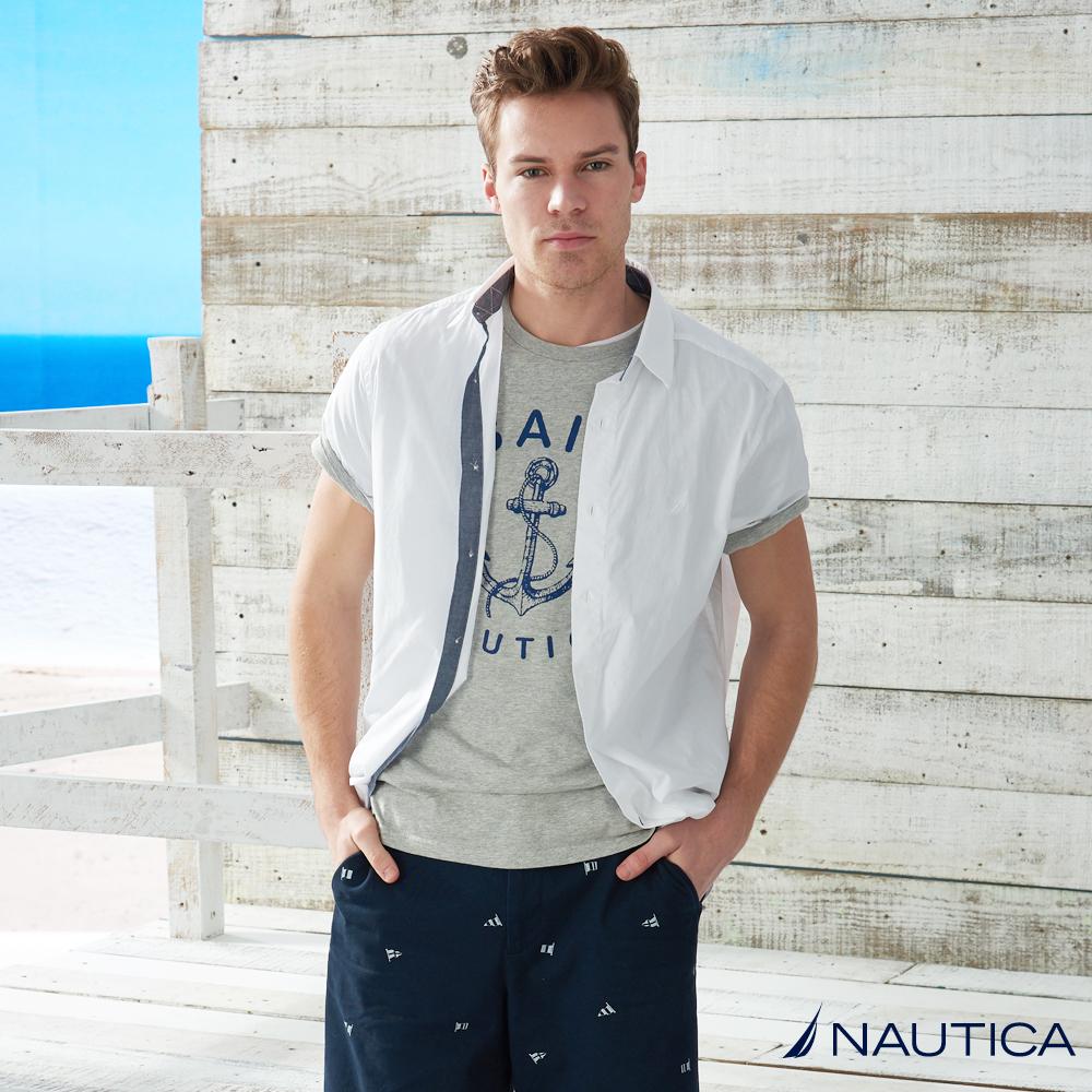 Nautica  基本款純白短袖襯衫 -白