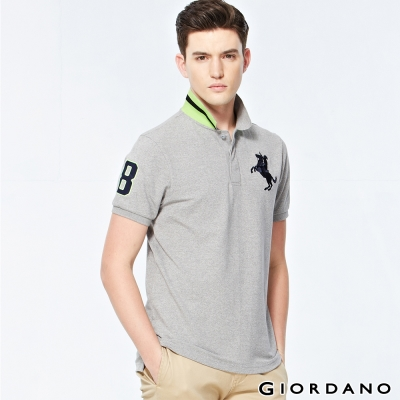 GIORDANO-男裝拿破崙刺繡彈性POLO衫-10-雪花中灰色