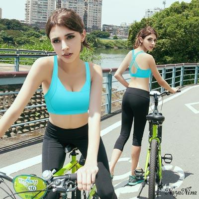 運動內衣-無鋼圈-交叉美背S-L-淺藍-Naya-Nina