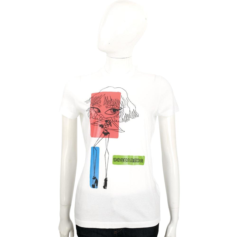 DSQUARED2 白色性感大眼女孩圖騰棉質T恤