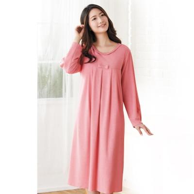華歌爾 中空保暖紗居家休閒 M-L 長袖睡衣裙裝(粉橘)-舒適睡衣-居家保暖-柔膚手感