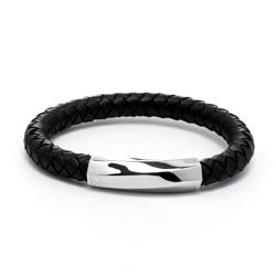 CK Calvin Klein  皮革編織手環-黑色