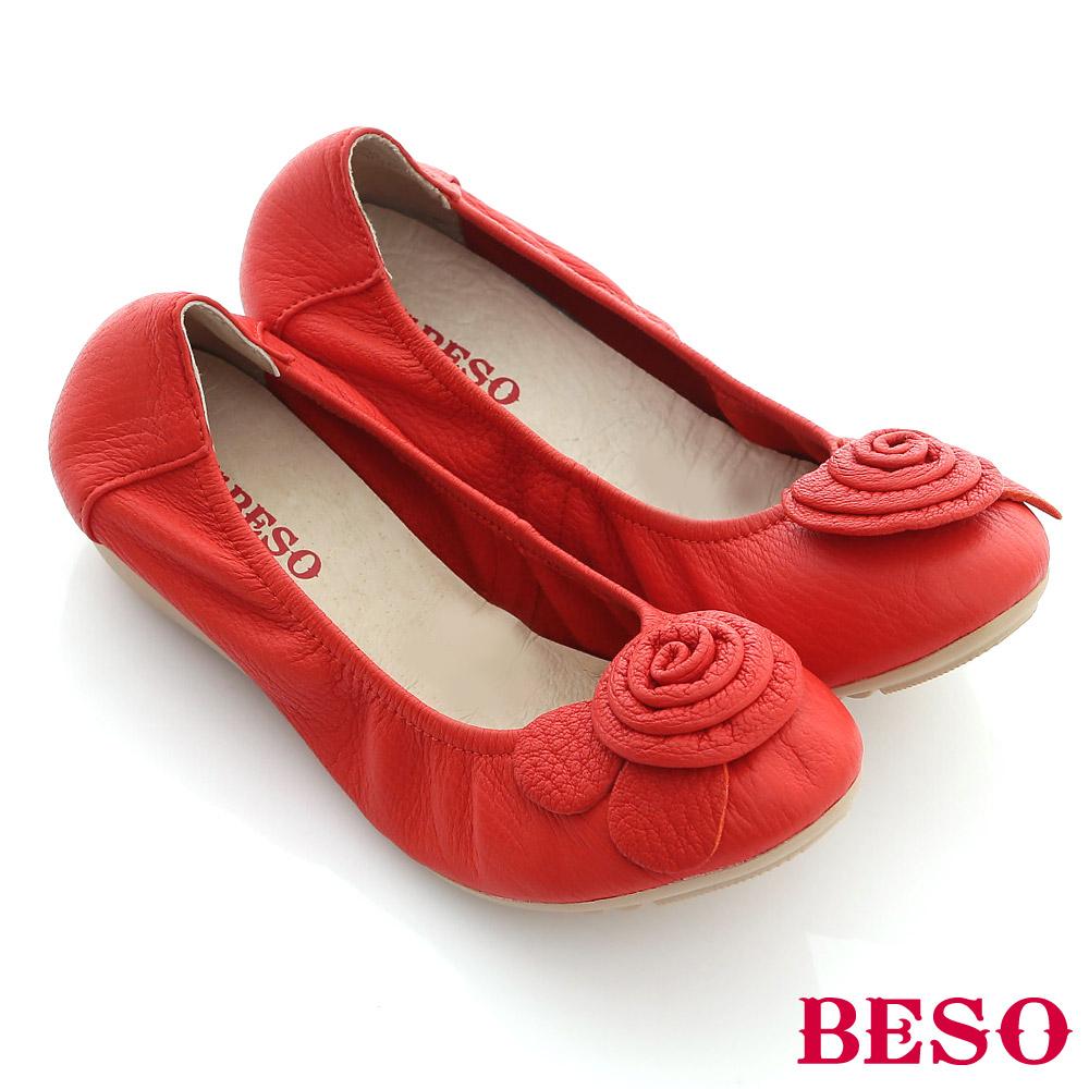 BESO甜蜜輕舞-柔軟羊皮立體花朵裝飾鬆緊娃娃鞋-橘紅
