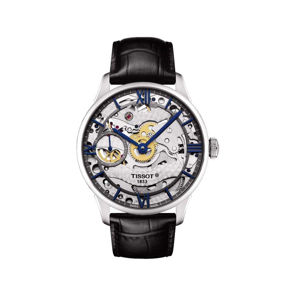 TISSOT T-Classic 羅馬精湛鏤空手動上鍊腕錶-銀x黑-42mm