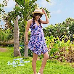 【AngelLuna日本泳裝】夢幻玫瑰三件式比基尼泳衣-藍色