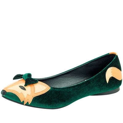 TUK綠絲絨小狐狸娃娃鞋-綠