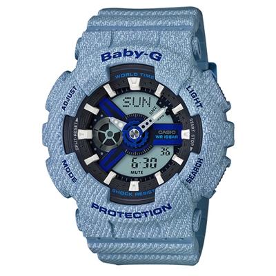 BABY-G熱銷款丹寧布料元素設計休閒錶(BA-110DE-2A2復古水洗藍43.3mm