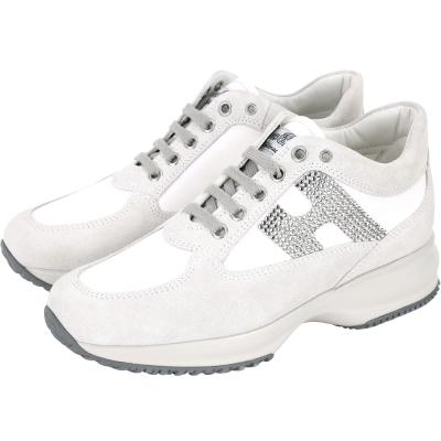 HOGAN Interactive H 鑽飾拼接麂皮綁帶休閒鞋(灰x白)