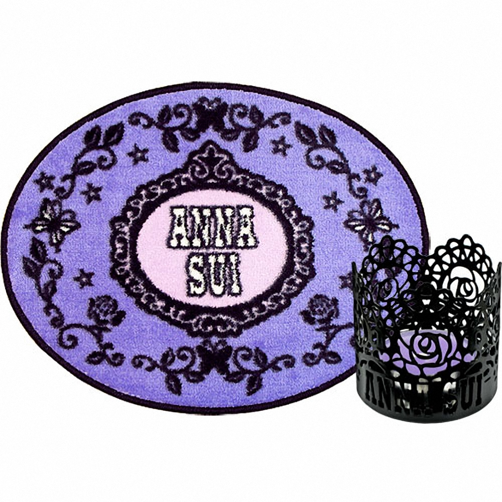 ANNA SUI 安娜蘇 薔薇紫蝶地毯+魔幻薔薇燭檯