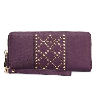 MICHAEL KORS Jet Set 圓點菱形鉚釘綴飾防刮皮革手拿包/長夾-莓紫色