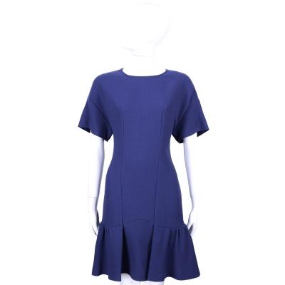 MOSCHINO 藍色羊毛抓摺荷葉設計短袖洋裝