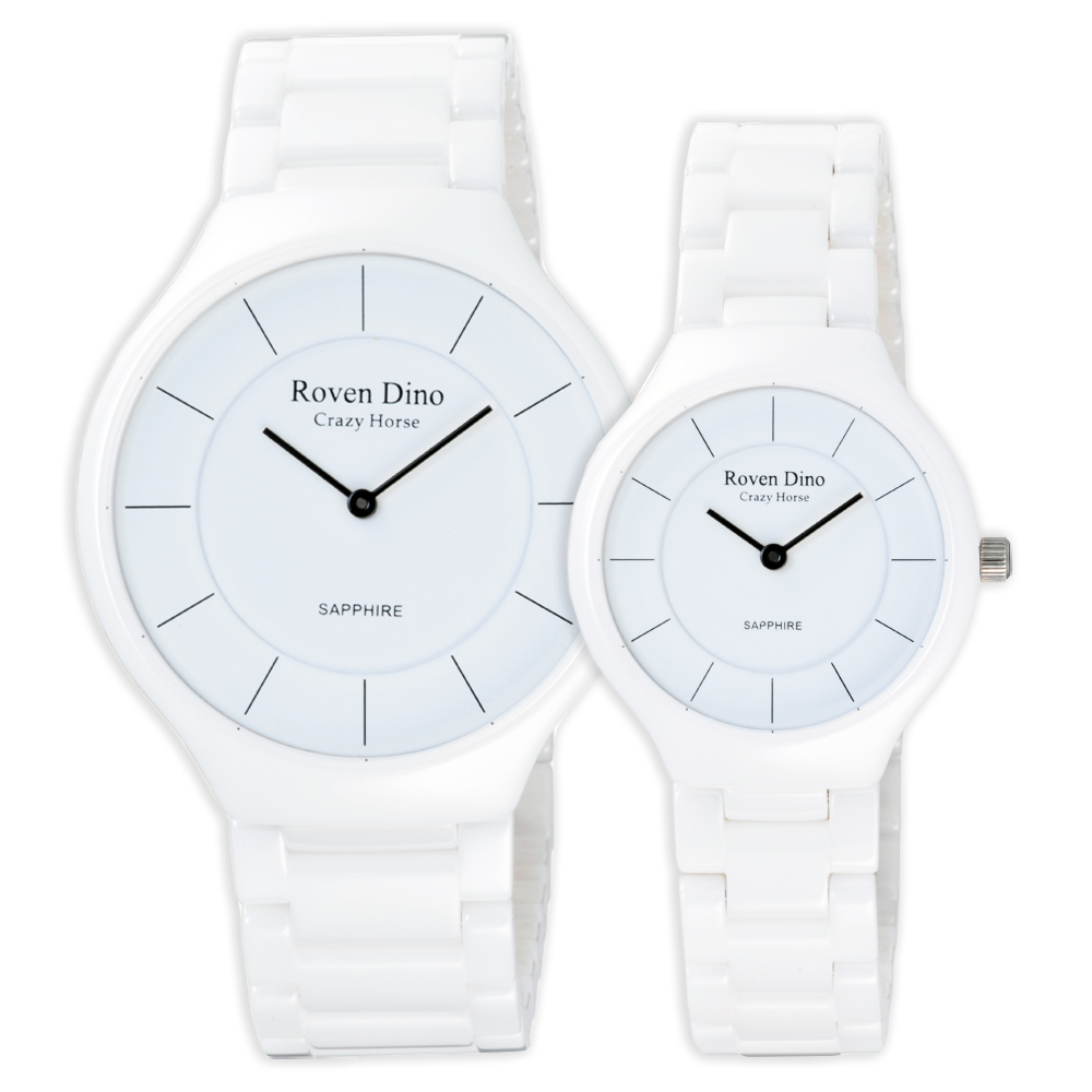 Roven Dino羅梵迪諾 典雅時尚細緻對錶-白/38mmx30mm
