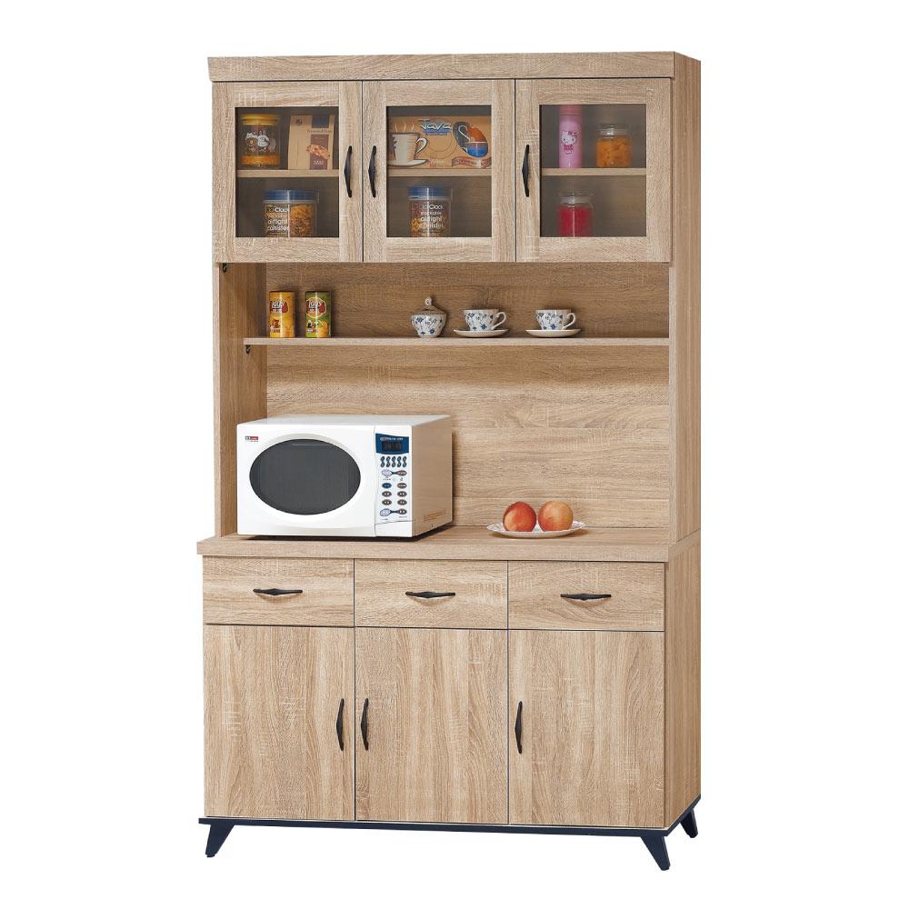 品家居 艾米堤4尺橡木紋餐櫃組合-121x40x201.5cm免組