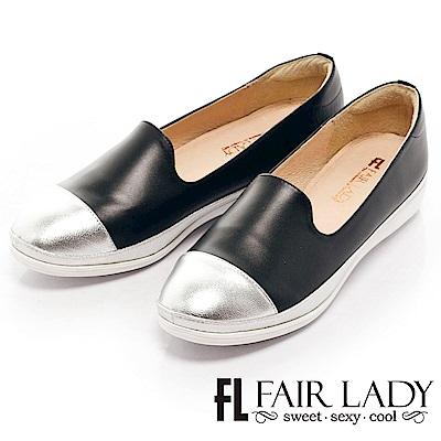 Fair Lady 金屬光嫩感拼色樂福鞋 黑