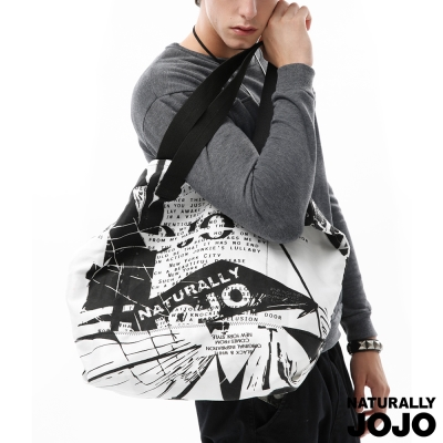 NATURALLY JOJO 紐約街景休閒袋(黑X白)