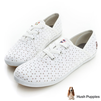 Hush Puppies 白色戀人咖啡紗甜心帆布鞋-白色