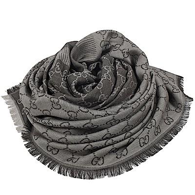GUCCI 經典G LOGO造型圍巾/大方巾(灰)