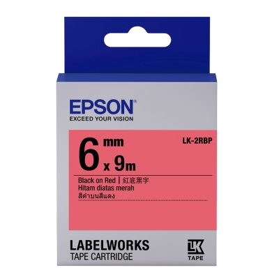 EPSON C53S652402 LK-2RBP粉彩系列紅底黑字標籤帶(寬度6mm)
