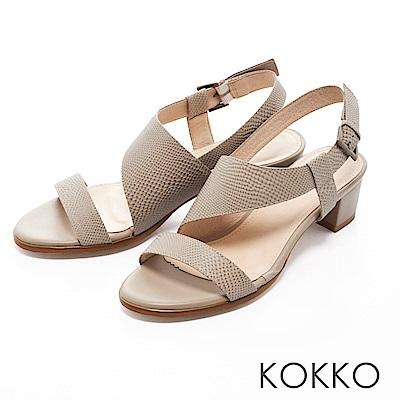 KOKKO-夢醒時分真皮交叉帶粗跟涼鞋-迷霧灰