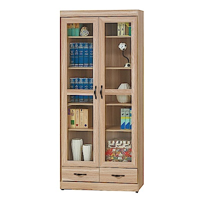 品家居 黛娜2.7尺橡木紋二門二抽書櫃-80x33x180cm免組