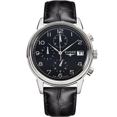 ELYSEE  復刻時尚計時腕錶-黑/40mm