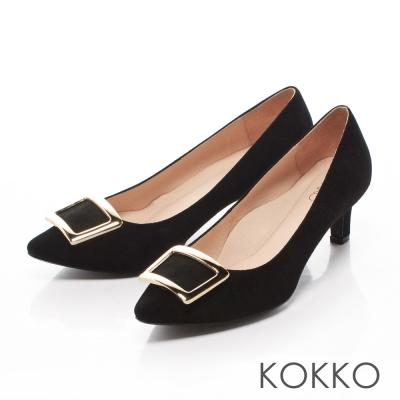 KOKKO優雅金屬方扣尖頭真皮高跟鞋百搭黑