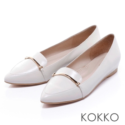 KOKKO舒壓軟墊尖頭羊皮內增高樂福鞋