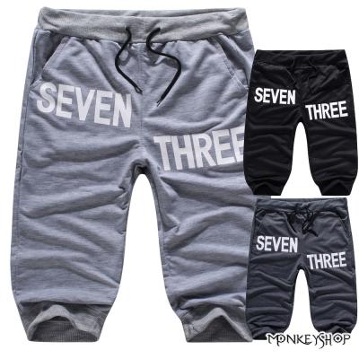 小猴子的賣場 韓版休閒側邊73印字束口棉質短褲-3色