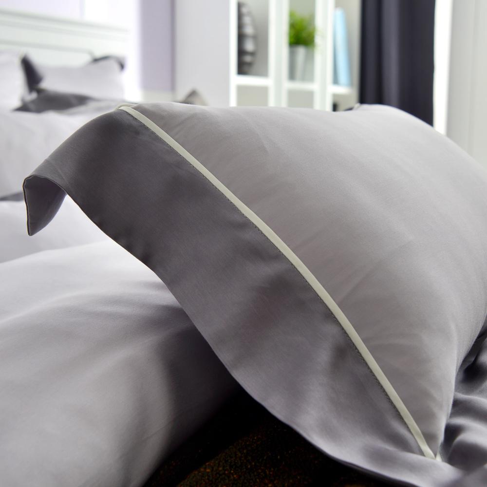 義大利La Belle 法式經典-灰 加大天絲拼接四件式防蹣抗菌舖棉兩用被床包組