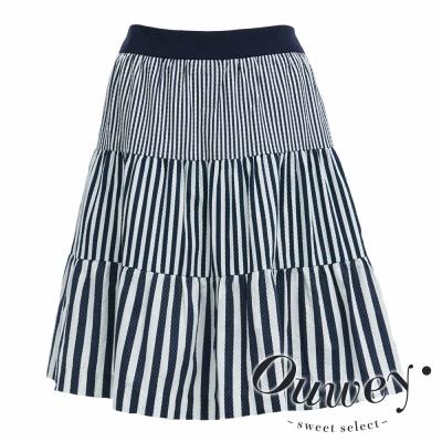 OUWEY歐薇-粗細條紋漸層拼接棉質短裙