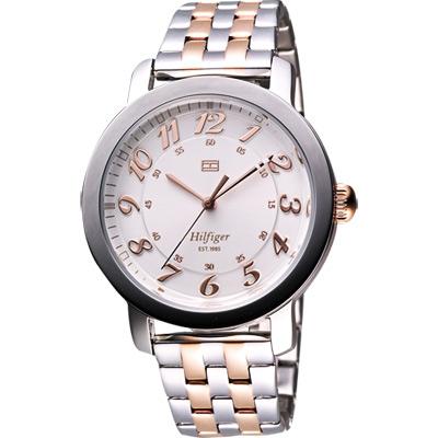 TOMMY HILFIGER 歐美時代都會腕錶-銀/玫塊金/38mm