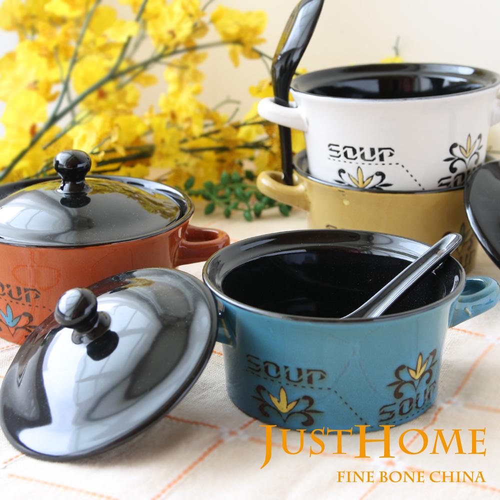 Just Home 井澤陶瓷雙耳蓋碗附匙360ml(2入組)