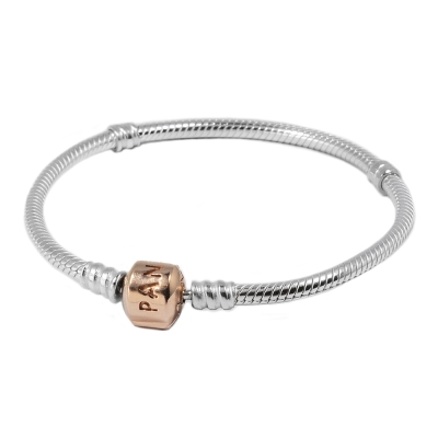 Pandora 潘朵拉 經典925純銀 玫瑰金扣頭 蛇鍊手鍊手環