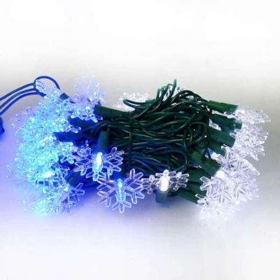 聖誕燈LED燈50燈雪花造型燈(藍白光/綠線)(省電高亮度)(附IC控制器跳機)