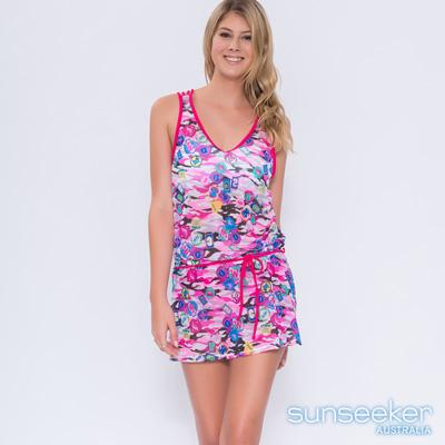 澳洲Sunseeker泳裝個性塗鴉風網紗美背洋裝罩衫