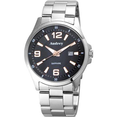 Audrey 歐德利 薄型設計紳士腕錶(AUM2593)-黑/42mm