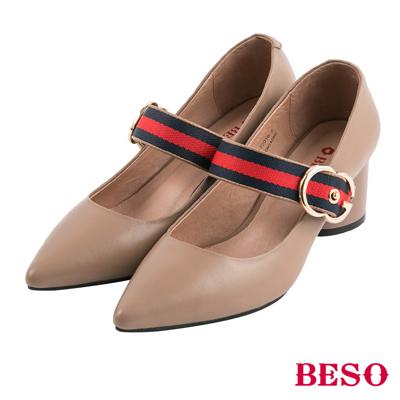 BESO雙色謎情 腳背帶飾釦全真皮粗跟鞋~米