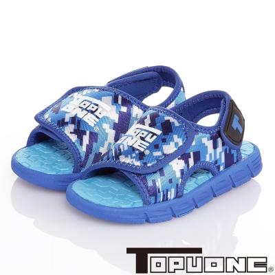 TOPUONE 8bit迷彩風極輕量減壓吸震運動休閒涼鞋童鞋-藍