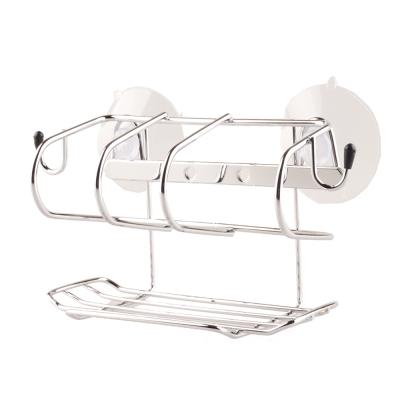 I-Bath 不鏽鋼衛浴配件-有掛勾置物架(釘吸二用)