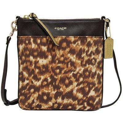 COACH豹紋織布皮革飾邊薄型斜背包COACH