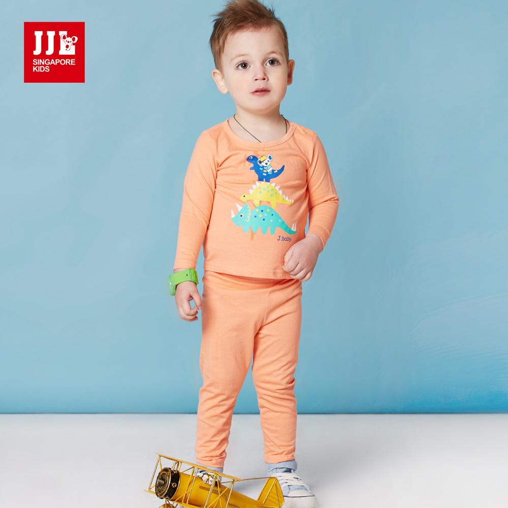 JJLKIDS 可愛恐龍王國純棉套裝(橘色)