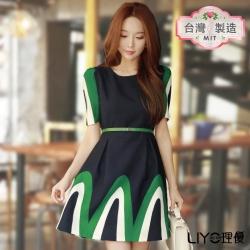 LIYO理優MIT公主袖印花洋裝(綠)