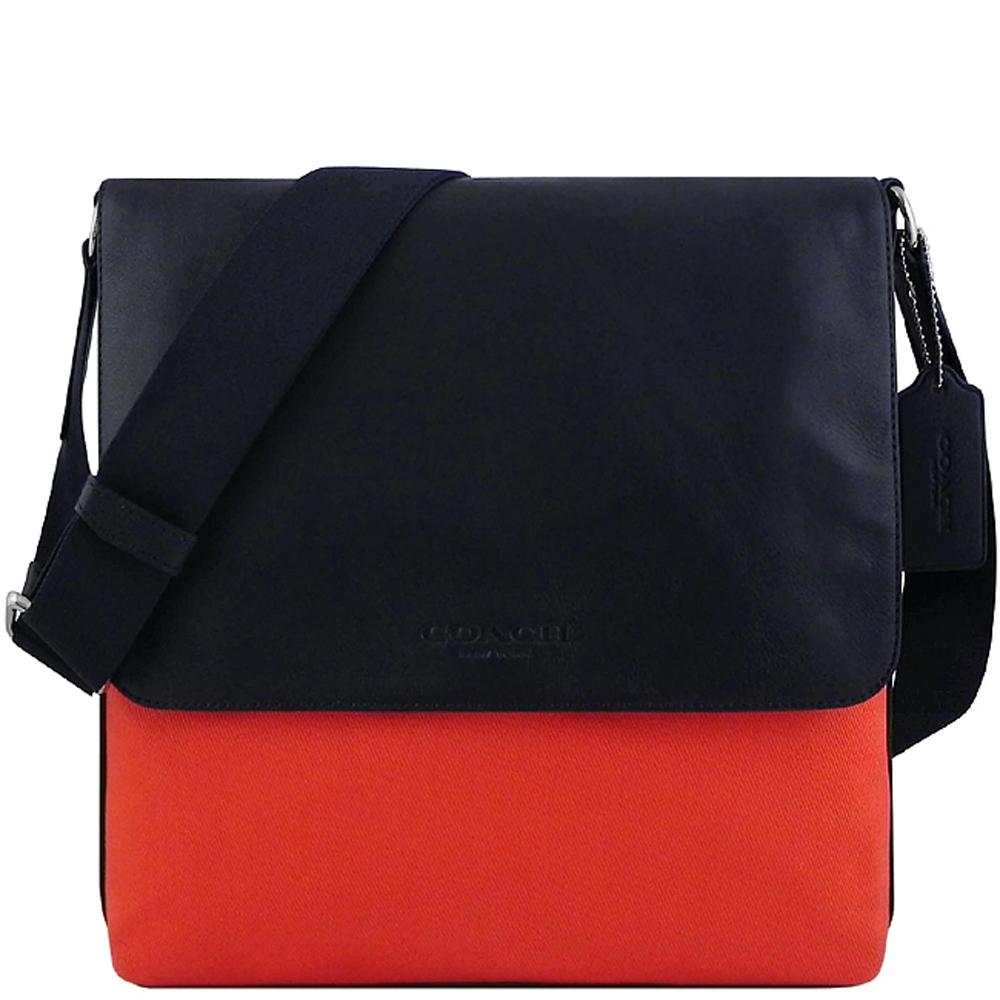 COACH 橘紅色厚織帆布斜背包COACH