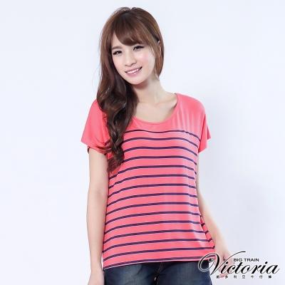 Victoria 配色印染條紋TEE-女-粉橘