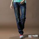 【BIG TRAIN】女款 湛藍街頭女垮褲(中藍)